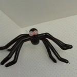 Eine Ballon-Spinne hängt in der Zimmerecke.